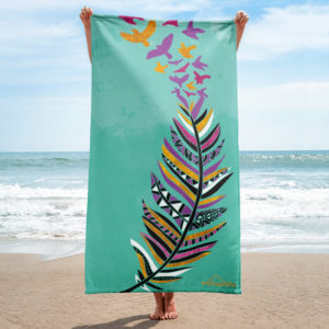 Aztec Feather Beach Towel