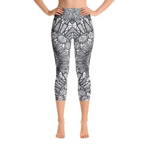 Black And White Mandala Yoga Capri Leggings Pattern 14